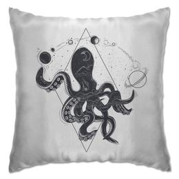 """Подушка """"Осьминог и  планеты"""" - осьминог, планеты, геометрический"""