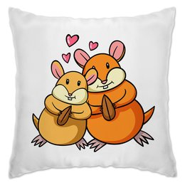 """Подушка """"Влюблённые  белочки"""" - любовь, сердца, день святого валентина, пара, белка"""