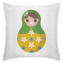 "Подушка ""Матрёшка"" - матрёшка, ромашки, цветы, расписная кукла"