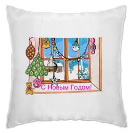 """Подушка """"Окно """" - зима, подарки, шары, окно, елочныеукрашения"""