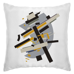 "Подушка ""Supremus №58, желтое и черное"" - белый, картина, супрематизм, малевич, каземир"