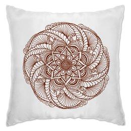 """Подушка """"Цветок в стиле росписи хной"""" - узор, мандала, этнический, индийский, мехенди"""