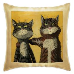 """Подушка """"Два друга"""" - дружба, диванная, думочка для дивана, коты и кошки, прикольные котики"""