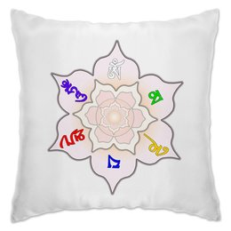 "Подушка ""Мантра Ом мани падмэ хум на тибетском"" - цветы, надписи, орнамент, буддизм, мантра"