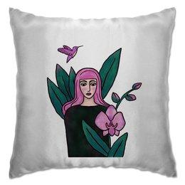 """Подушка """"Девушка с розовыми волосами"""" - девушка, цветы, птица, розовый, орхидея"""
