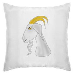 """Подушка """"Голова белого козла"""" - голова, злость, изумление, белый козел, удивленный козел"""