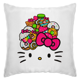 "Подушка ""Hello Kitty"" - кошка, арт, hello kitty, мультфильм, хелло китти"