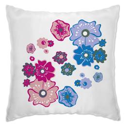 """Подушка """"Цветы"""" - цветы, розовый, синий, разный, несколько"""