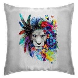 """Подушка """"Царь зверей"""" - перья, цветы, арт, лев"""