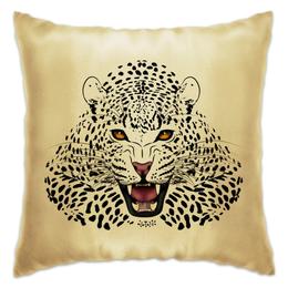 "Подушка ""Леопард"" - животные, рисунок, коты, леопард, хищники"