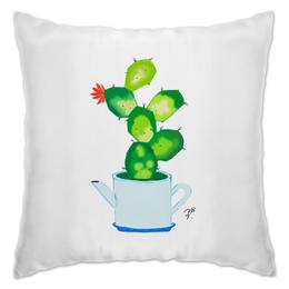 """Подушка """"Не забудь полить"""" - цветы, растения, чайник, кактус, кухня"""