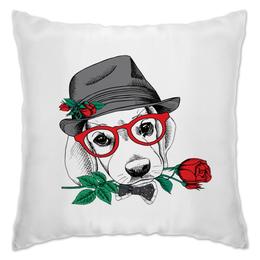 """Подушка """"Пес и роза"""" - цветы, животные, роза, пес, собака"""