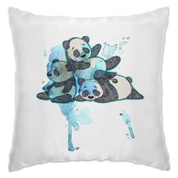"""Подушка """"панды"""" - панда, клякса, panda, акварель, панды"""