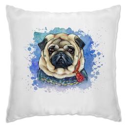 """Подушка """"МОПСик"""" - pug, рисунок, собаки, мопс, мопсик"""