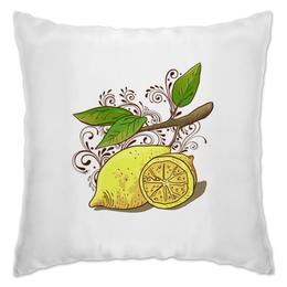 """Подушка """"Лимоны"""" - листья, ветка, лимон, завитки, лимоны"""