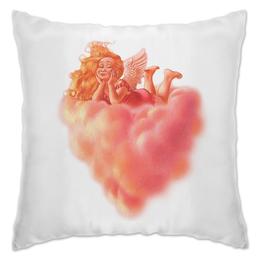 "Подушка ""Ангел на облаке"" - сердце, ангел, облако, девочка"