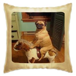 "Подушка ""Песик"" - dog, pug, horse, мопс, на коне, песик"