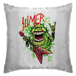 "Подушка ""Лизун/Slayer"" - юмор, slayer, охотники на привидений, thrash metal, ghost busters"