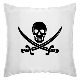 """Подушка """"Веселый Роджер."""" - череп, jolly roger, пират, веселый роджер, pirates, пираты карибского моря, пиратский флаг"""
