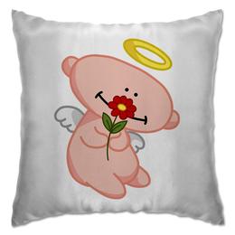 """Подушка """"Ангел с цветком"""" - любовь, крылья, цветок, ангел, нимб"""
