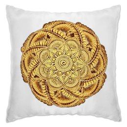 "Подушка ""Золотая мандала мехенди"" - узор, этно, мандала, индийский, мехенди"