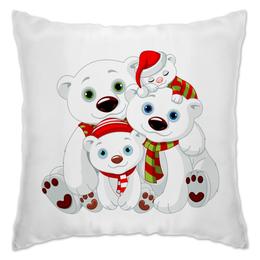 "Подушка ""Белые медведи"" - животные, медведь, снежинки, белый медведь, полярные медведи"