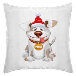 """Подушка """"Новый год 2018"""" - новый год, животные, собака, 2018, год собаки"""