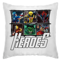 "Подушка ""Marvel Heroes and Villains"" - comics, marvel, heroes, barreljumpers, villains"