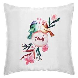 """Подушка """"Птички"""" - любовь, листья, природа, птички, акварельный клипарт"""