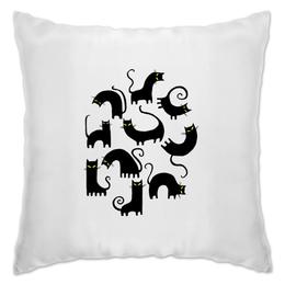 "Подушка ""Кошки 3"" - рисунок, кошки, графика, чёрный кот"