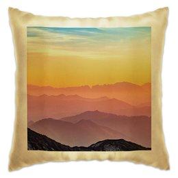 """Подушка """"Без названия"""" - небо, природа, закат, горы, пейзаж"""