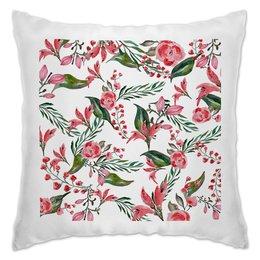 """Подушка """"Цветы на белом"""" - цветы, роза, листья, природа, пион"""