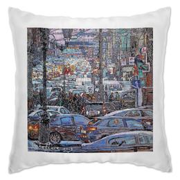 """Подушка """"Охотный ряд"""" - арт, москва, город, пейзаж, живопись"""