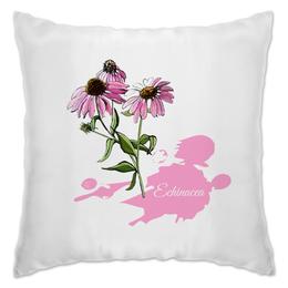 "Подушка ""Цветок эхинацеи в стиле скетч"" - цветок, скетч, эхинацея, иллюстрация, botanicalart"