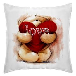 "Подушка ""Мишка с сердцем ""Love""."" - любовь, мишка, i love you, love you, мишка с сердцем"