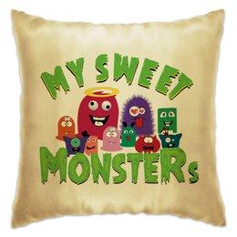 """Подушка """"Пушистые монстры"""" - хэллоуин, монстр, дракон, комиксы, зубы"""