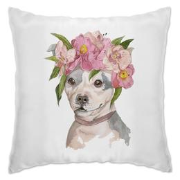 """Подушка """"собака в цветах"""" - животные, собака, акварель, орхидеи, питбуль"""