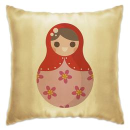 "Подушка ""Матрёшка"" - матрёшки, матрёшка, расписная кукла, цветы, цветочки"