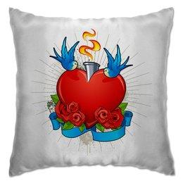 """Подушка """"Сердце"""" - любовь, день святого валентина, розы, голуби, день влюблённых"""
