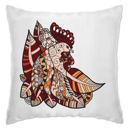 """Подушка """"петушиное разноцветие"""" - птица, яркий, символ года, абстрактный, петух"""