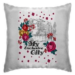 """Подушка """"Город"""" - цветы, город"""