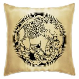 """Подушка """"Индийский слон"""" - животные, рисунок, слон, буддизм, индуизм"""
