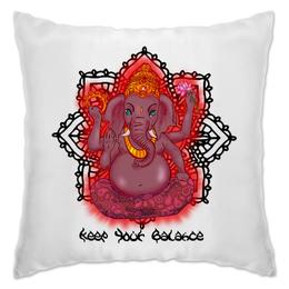 "Подушка ""Сохраняй спокойствие"" - мандала, медитация, ганеша, буддизм, ганапати"