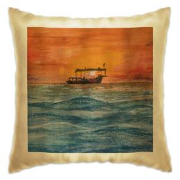 """Подушка """"Апельсиновый закат"""" - лето, оранжевый, море, прогулка, закат"""