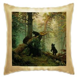 """Подушка """"Утро в сосновом бору"""" - утро, романтика, картина, пейзаж, мишки"""