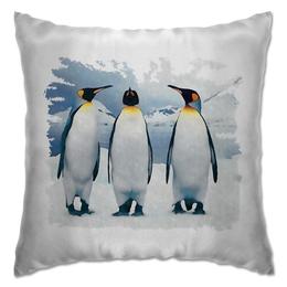 "Подушка ""Три пингвина"" - птица, снег, акварель, пингвин, антарктида"