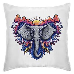 """Подушка """"Слон на фоне восходящего солнца"""" - солнце, слон, облака, змеи, elephant"""