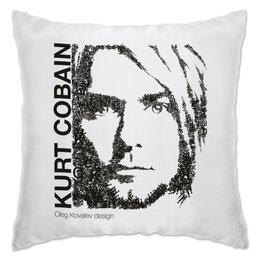 "Подушка ""Курт Кобейн (шрифтовой портрет)"" - nirvana, рок, курт кобейн"