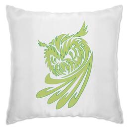 """Подушка """"Филин"""" - птица, зеленый, сова, филин, ночной"""
