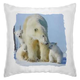 "Подушка ""Белая медведица с медвежатами "" - медведь, снег, акварель, медвежата, медведица"